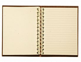picture of leather-bound  - Opened brown leather ruled journal on a white background - JPG