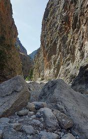 picture of samaria  - Rocky slopes Samaria Gorge on Crete Island - JPG
