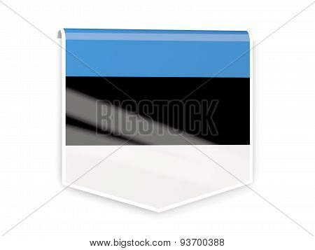Flag Label Of Estonia