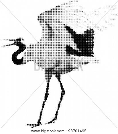 illustration with black crane from dots isolated on white background