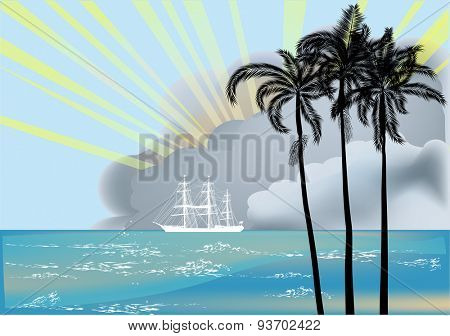 illustration with ship and palm trees silhouettes at sunset near sea