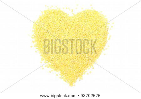 Heart Shaped Millet Groats On White Background