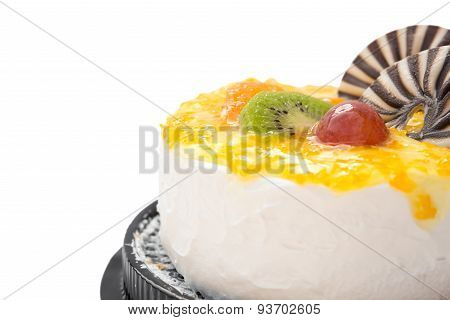 Yummy Cake On White With Grape Orange Kiwifruit And Chocolate On Top, Clipping Path Included