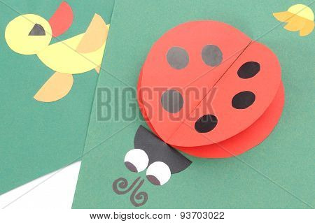 Origami Of Ladybug And Duck From Recycled Paper