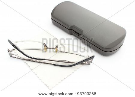 Glasses, Cleaning Cloth And Case On A White Background