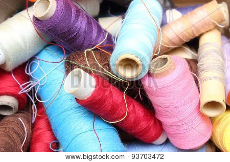 Tangled Spools Of Sewing Thread