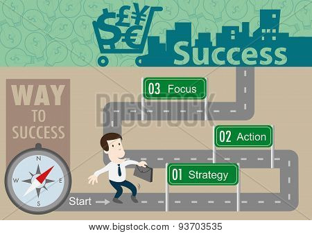 Map Of Business Plan To Success With Vector Concept