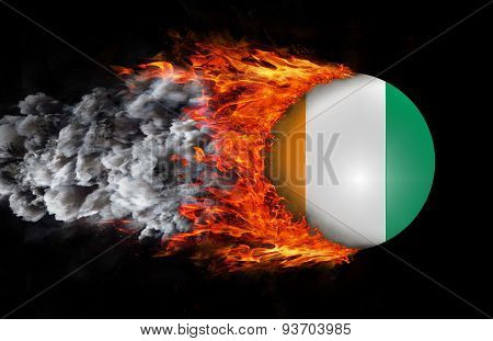 Flag With A Trail Of Fire And Smoke - Ivory Coast