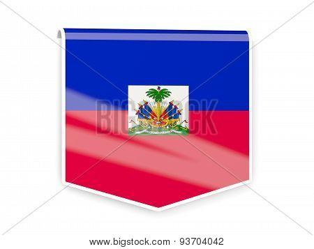 Flag Label Of Haiti