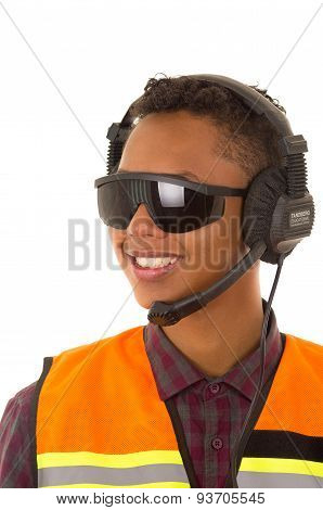 Hispanic industry worker headset