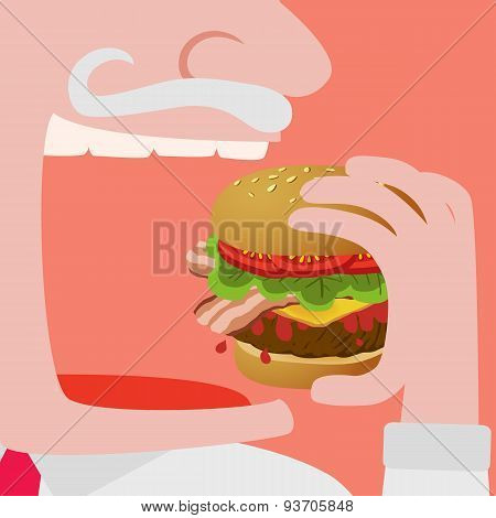 Man Eating A Big Hamburger Vector Comic