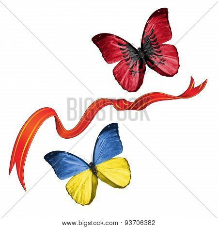 Two butterflies with symbols of Ukraine and Albania