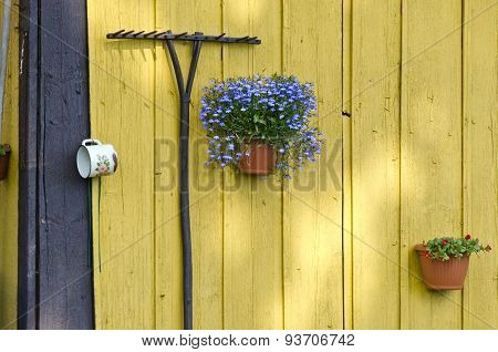 Old Garden Rake And Flowerpots With Flowers On Wall