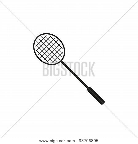 The Badminton Icon. Game Symbol. Flat