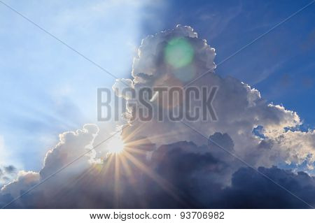 Beam Of Light And The Clouds With Sun Flare