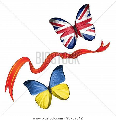 Two butterflies with symbols of Ukraine and United Kingdom