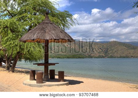 natural leaf gazebo on beach in Dili