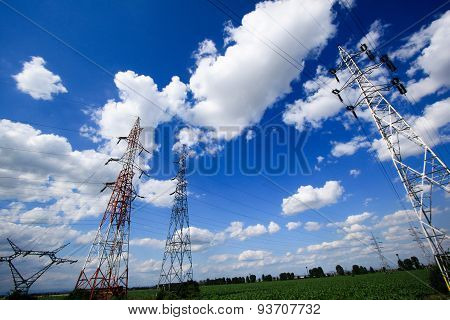 Electric Poles In A Field