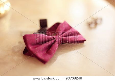 Pink Bowtie On Table