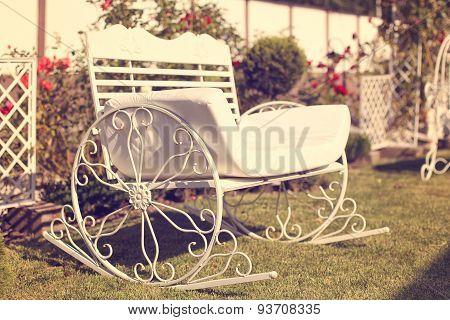 Metal Bench In The Garden