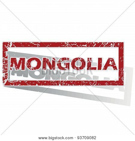 Mongolia outlined stamp