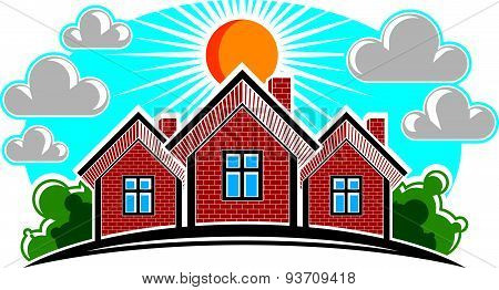 Colorful illustration of country houses on sunny background with horizon line. Village theme