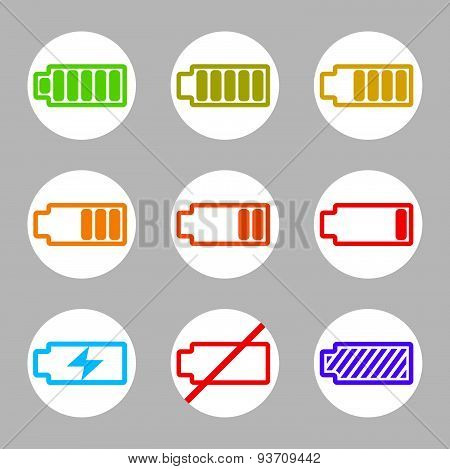 Battery charge indicator icons vector set, simplistic symbols vector collections.