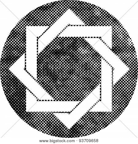 Eight point star vector symbol with pixel print halftone dots texture.