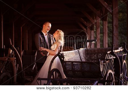 Bride And Groom Near Carriage