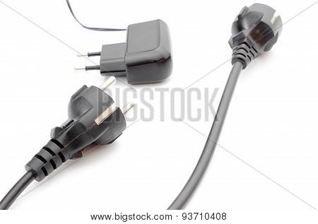 Electric Cable For Appliances On White Background