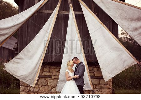 Bride And Groom Posing In A Beautiful Scenery, Near A Windmill