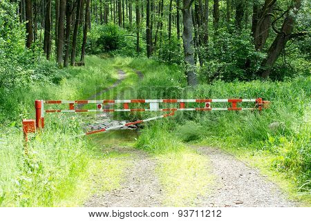 Barrier Gate With Forest Background Usage