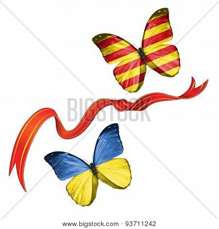 Two butterflies with symbols of Ukraine and Catalonia (Spain)