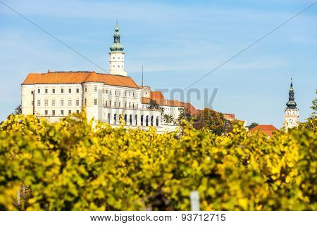 Mikulov with autumnal vineyard, Czech Republic