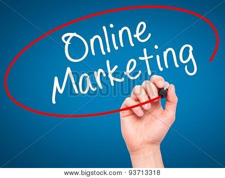 Man Hand writing Online Marketing with black marker on visual screen.
