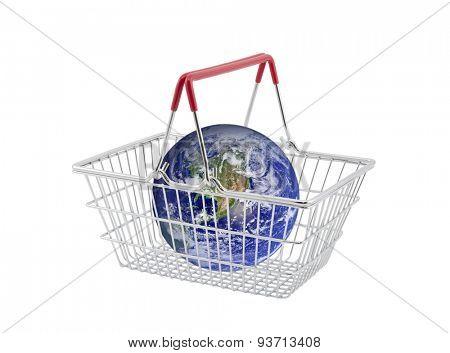 Supermarket basket containing globe isolated on white. Earth image provided by Nasa.