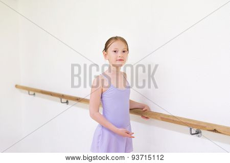 Little ballerina in a dance school