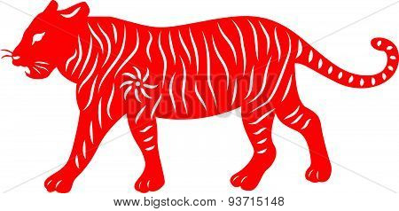 Red paper cut a tiger zodiac symbols