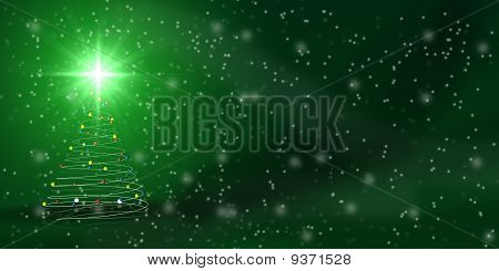 Christmas Tree Over Green