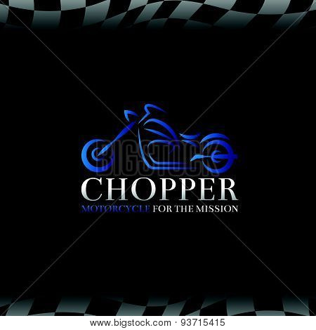 blue chopper motorcycle logo symbol and Checkered flags background