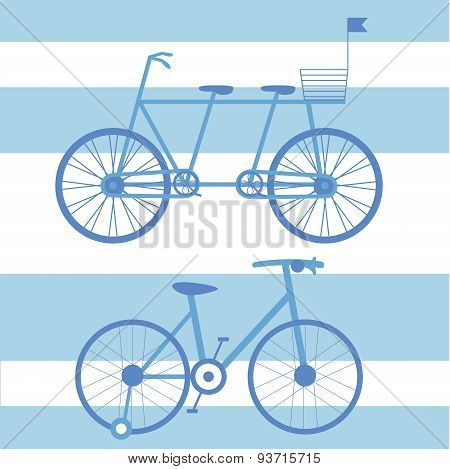 Illustration With Child And Adult Bikes Double.