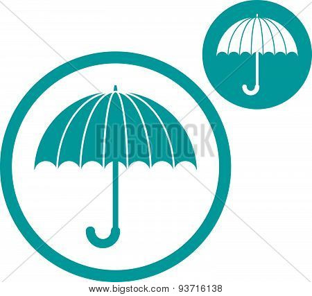 Umbrella vector simple single color icon isolated on white background, includes invert version