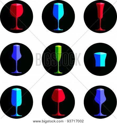 Decorative drinking glasses collection. Set of celebration goblets, simple glassware