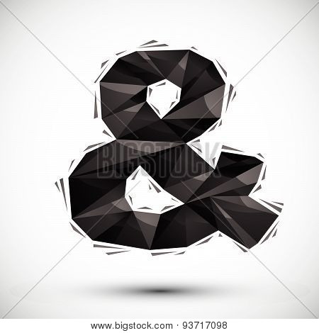 Black ampersand geometric icon made in 3d modern style. Best for use as symbol or design element
