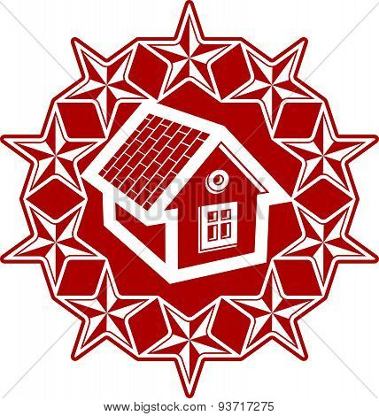 Solidarity idea icon, simple house surrounded with festive stars. Stylized design element