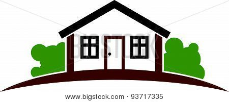 Abstract house with horizon line. Best for use in graphic design as corporate symbol. Countryside
