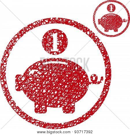 Piggy bank, coins cash money savings theme vector icon isolated on white background with sketch line