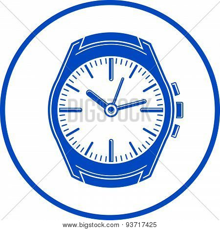 Simple wristwatch graphic illustration, classic hour hand symbol. Time management design element