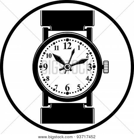 Simple wristwatch graphic illustration, classic hour hand symbol. Time management idea element
