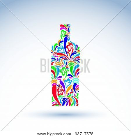 Bright flowery alcohol bottle. Stylized glassware symbol with abstract pattern. Graphic